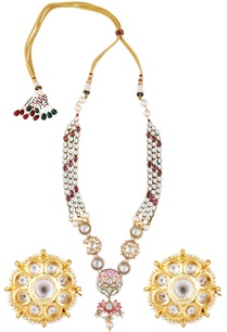 kundan-double-layer-necklace-with-earrings