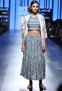 blue-and-white-striped-crop-top-skirt-set-with-a-long-flared-jacket