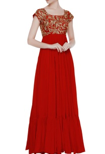 red-chiffon-tiered-style-gown