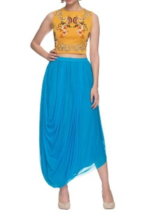mustard-embroidered-crop-top-with-aqua-draped-skirt