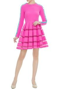 bubble-gum-pink-scuba-pom-pom-dress