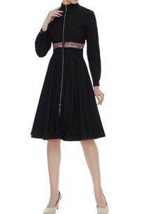 black-embroidered-zippered-skater-dress