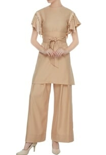 beige-twill-fringes-tunic-with-palazzos-belt