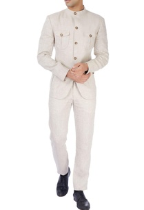 beige-linen-bandhgala-trousers