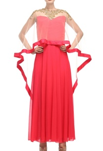 coral-red-light-beige-dress-with-cape