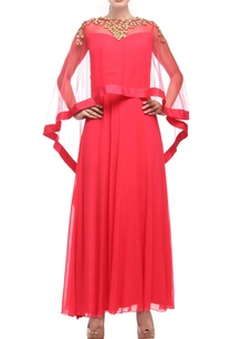 coral-red-dress-with-embellished-cape