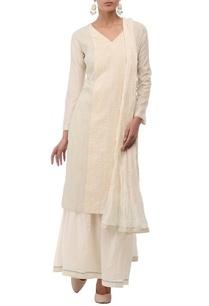 off-white-beige-embroidered-kurta-set