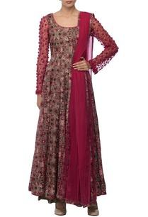 olive-green-deep-pink-floral-printed-embroidered-kurta-set