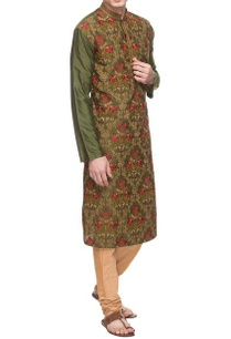 olive-green-threadwork-embroidered-kurta
