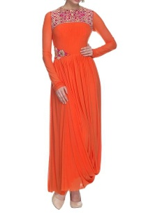 orange-drape-dress-with-pleated-details