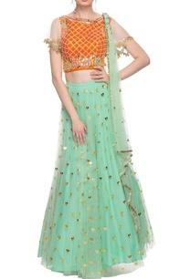 orange-mint-green-embellished-lehenga-set