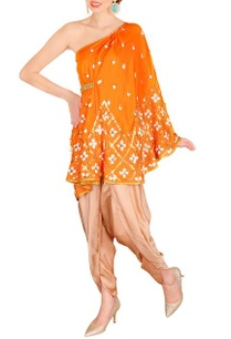 orange-one-shouldered-cape-set