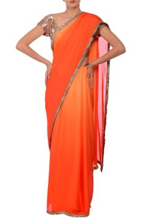 orange-shaded-silver-frill-embroidered-sari