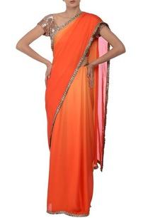 orange-shaded-silver-frill-embroidered-sari