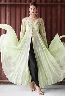 mint-green-embellished-cape-jacket-black-dhoti-pants