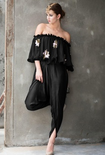 black-off-shouldered-embellished-top-dhoti-pants