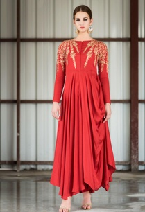 red-gold-embroidered-cowl-dress