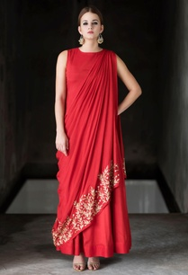 red-embroidered-draped-dress