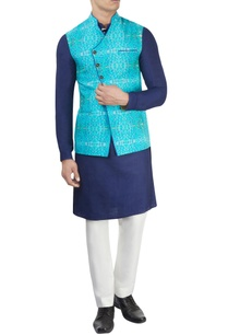 aqua-blue-printed-nehru-jacket