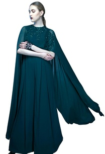 moss-green-embroidered-cape-jumpsuit
