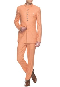 peach-bandhgala-pants-set