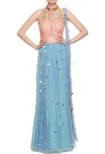 peach-sky-blue-embellished-cut-out-detail-lehenga-set