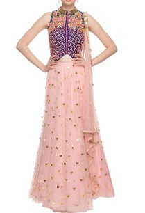 peachy-pink-navy-blue-embroidered-lehenga-set
