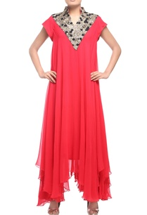 coral-red-embellished-asymmetric-tunic