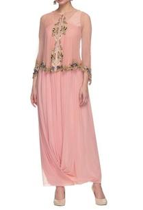 pink-drape-dress-with-embellished-cape