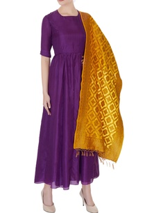 violet-silk-long-kurta-dress-with-banarasi-stole