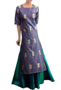 blue-checkered-kurta-set-with-skirt