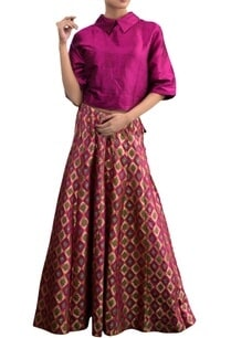 rani-pink-skirt-set-with-geometric-pattern