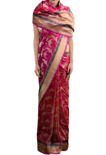 pink-sari-with-leaf-pattern-zari-work