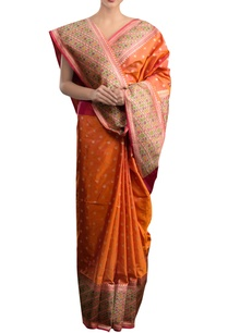 orange-sari-with-multi-colored-border