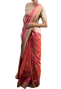 pink-orange-sari-with-floral-motifs