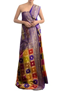 blue-sari-with-multi-colored-geometric-pattern