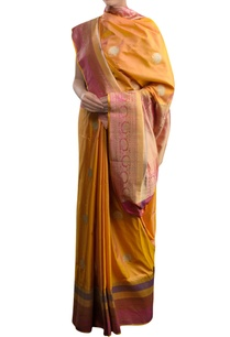 orange-sari-with-pink-border-zari-work
