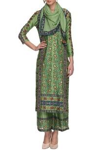 pista-green-chakri-printed-kurta-set