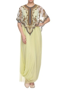 pista-green-drape-dress-with-embellished-cape