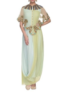 powder-blue-and-green-dress-with-embellished-cape