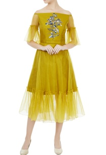 sulphur-yellow-tafetta-organza-hand-crafted-colorful-sequin-bead-work-off-shoulder-dress