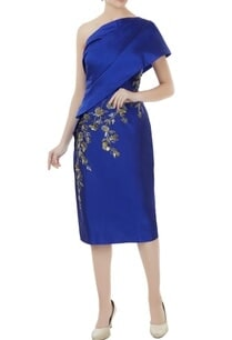 royal-blue-tafetta-hand-crafted-colorful-sequin-bead-work-nakshi-toga-draped-dress