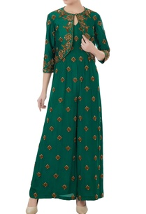 emerald-green-crepe-tafetta-hand-crafted-nakshi-bead-work-jumpsuit-with-jacket