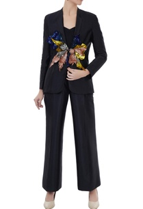 black-tafetta-hand-crafted-colorful-3d-sequin-blazer-with-pants