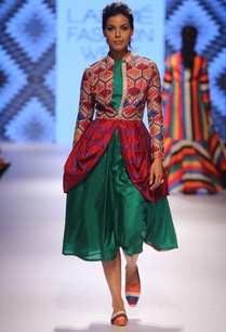 green-a-line-dress-with-multi-colored-coat