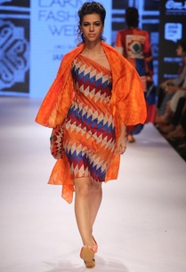 multi-colored-diamond-dress-with-orange-jacket