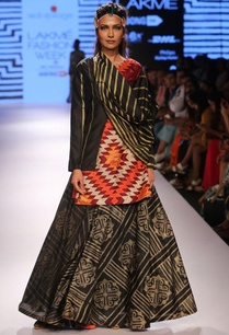 multi-colored-diamond-kurta-with-black-shibori-ghagra-shirt