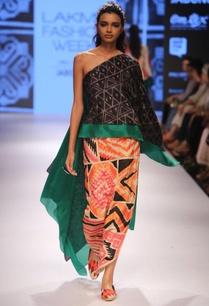 black-shibori-kaftan-with-beige-applique-skirt