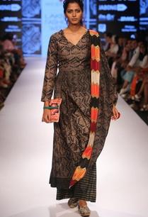 black-shibori-kurta-set-with-multi-colored-stole