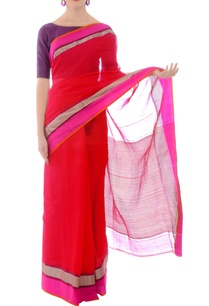 pink-handwoven-sari-with-silver-striped-drape